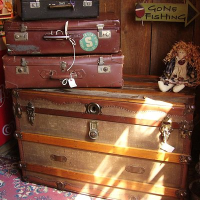 Steamer trunk and suitcases