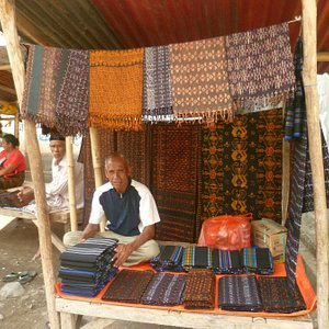 Woven fabric stall at Ende Markets