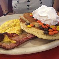 Fun at Great Scott's with Reese's pieces pancakes
