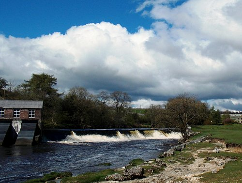 Seen from Linton Falls - the Dales National Park hydroelectric plant at the upper falls/weir.