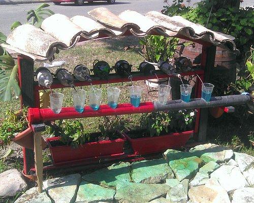 Particolare fontana ornamentale situata del giardino del locale.