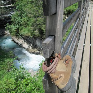 narrow gorge with new bridge and an intriguing boot attached