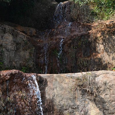 The waterfall comes down to a trickle in December.