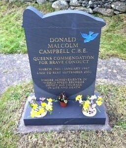 The late Donald Campbell's grave in Coniston Cemetry