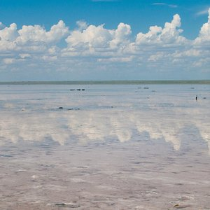 Озеро покрыто тонким слоем воды, и засчет солевого слоя в нем зеркально отражается небо.