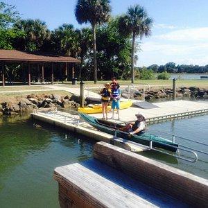 Launching kayaks.