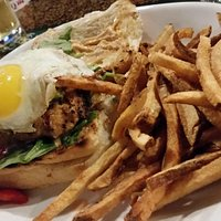 Napa Cowgirl - chicken chipotle burger w/ fried egg, guacamole, red pepper, spinach & chipotle m