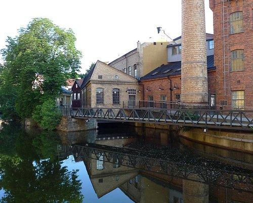 Norrköpings stadsmuseums entré i Holmbrogränd i hjärtat av Industrilandskapet