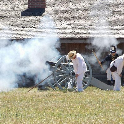 Firing of the cannon as part of the Living History weekend.