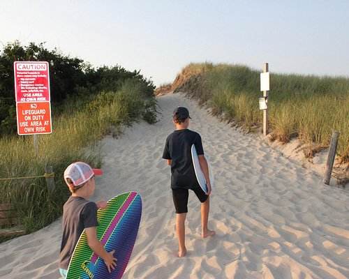 Entrance to beach, don't forget your skim boards!