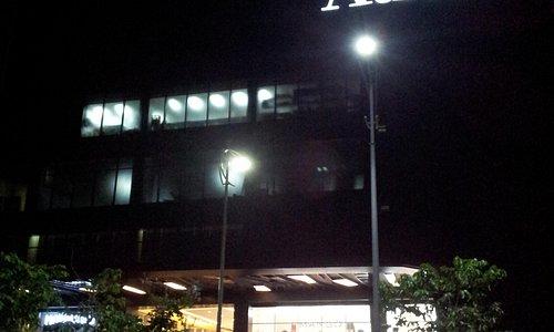 The facade at night