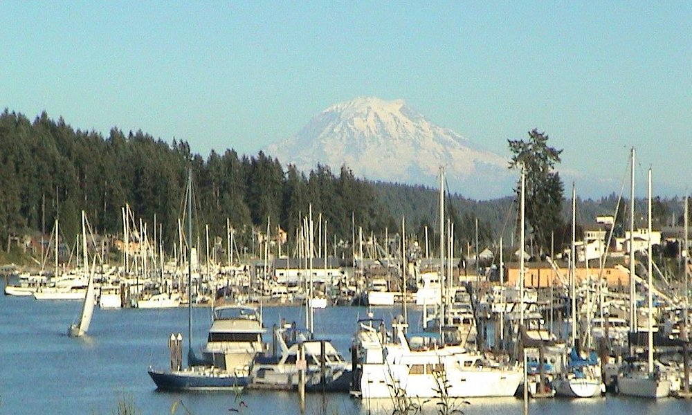 Tight shot of Gig Harbor and Mt. Rainier
