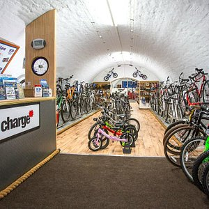Inside the shop, with our range of top brand bikes and accessories