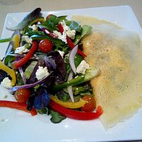 Spinach & Feta Pancake with colourful side salad