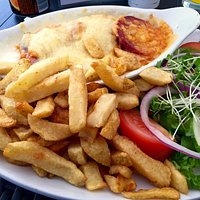 Chicken and chorizo melt with tasty home made chips.