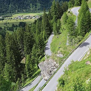 Umbrail Pass as seen from terrace of Alpenrose Hotel