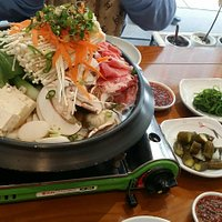 Mandoo hot pot - not spicy. There is also a spicy version.