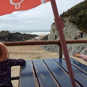Sitting at the beach cafe