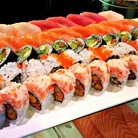 fresh maki rolls and sushi