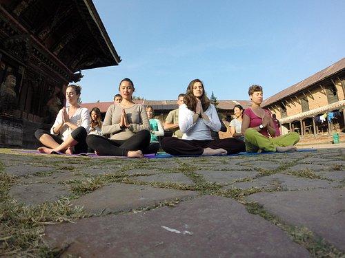 YTT students doing meditation at the historical yogic place