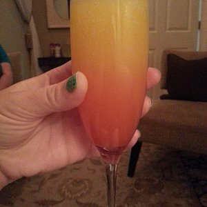 Enjoying a mimosa in the relaxation room!
