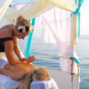 Aqua Marine Massage offers a unique service~massage from the deck of a pontoon boat over the pri