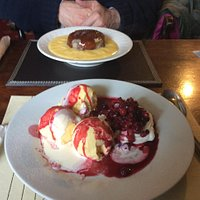 Sticky toffe pudding & meringue with summer fruits