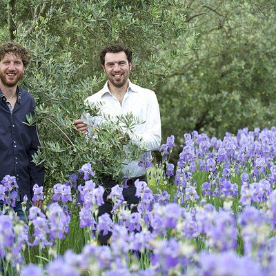 Gionni and Paolo Pruneti between Olives trees and Iris