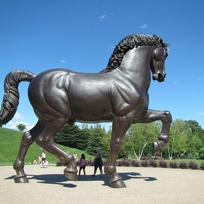 The large horse dwarfs people