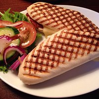 Brie, bacon and cranberry panini. Yum!