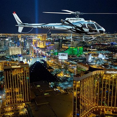 Fly over the Las Vegas Skyline at night