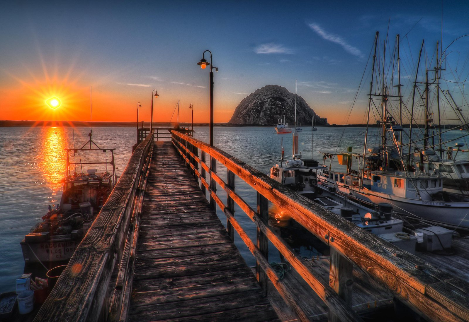Morro Rock and the bay at sunset