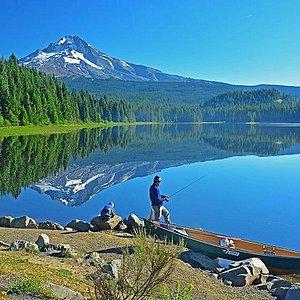Father & son fishing on Trillium Lake