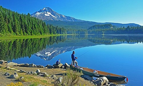 Father & son fishing on Trillium Lake