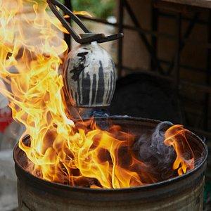 Pulling Pots out of the Raku Firing