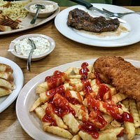 Delicious chicken tenders entree and steak.