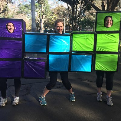 These costumes proved to be a bit of a struggle to run in for these ladies, but they looked FABU