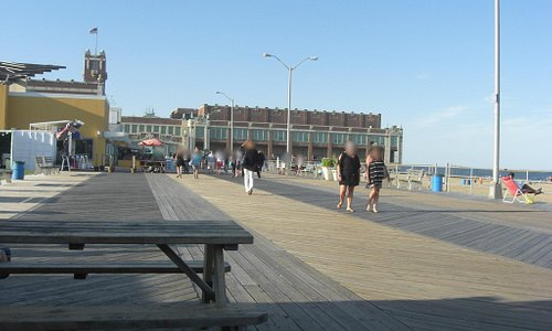 Outside the Silverball Pinball Museum looking towards the Asbury Park Pavilion.
