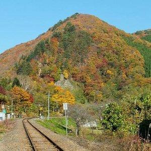 ローカルな線路と紅葉。