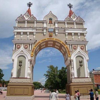Такой аркой Благовещенск встречал российского императора