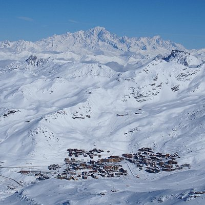 Val Thorens village from the top of the skifield