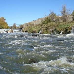 A view of the Link River rapids/falls for which Klamath Falls is named, near the Link River Trai