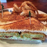 Fried Green Tomato BLT w Onion Rings