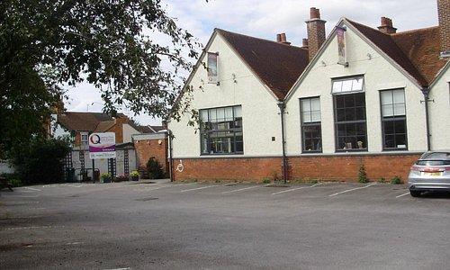 Aylesbury Queens Park Arts Centre view across car park to Entrance