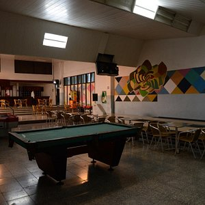 pool tables and seating area