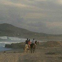 Kids on sunset horseback ride at Tule Beach