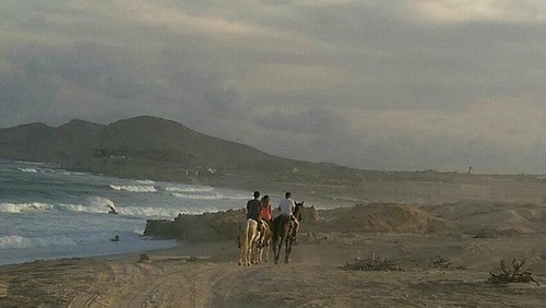 Kids on sunset horseback ride at Tule Beach