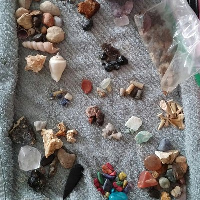 Some of our haul from the mine and panning with the large bag. What a great value!