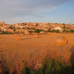 The town of Montuiri seen from the NW.  The Moli d'en Nofre is visible on the right, it's the on