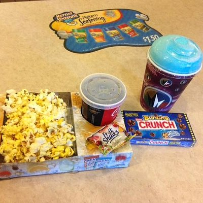 'kids zak pak', with popcorn, candy and drink for like $6
